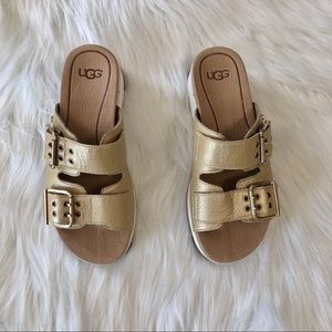 52b22646de0a UGG Shoes - UGG Cammie Gold Metallic Slide Sandals Sz 5.5